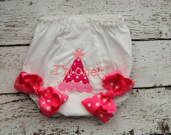 Im one Birthday Hat Embroidered Diaper Covers with Bows - Bloomers - Double Seat Panty