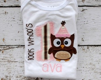 Look Whoo's 1 Owl Birthday Shirt or Bodysuit with Name Personalized