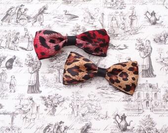 Leopard print hair bows