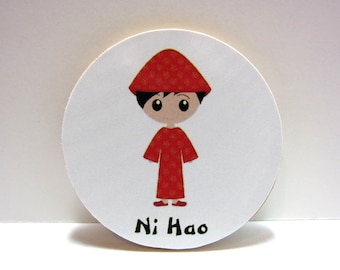 Cute Chinese Boy - Ni Hao (Hello in Chinese) - Wood Magnet