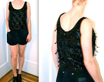 Vintage Black Sequin Top Size Medium// 60s Black Fringe Sequin Shirt Blouse Shirt Size Medium Black Beaded Fringe Tank Top