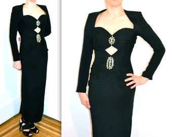 Vintage Black Evening Gown With Rhinestones By Sherri Hill 90s does 40s XS// Vintage Black Silk Pageant dress XS