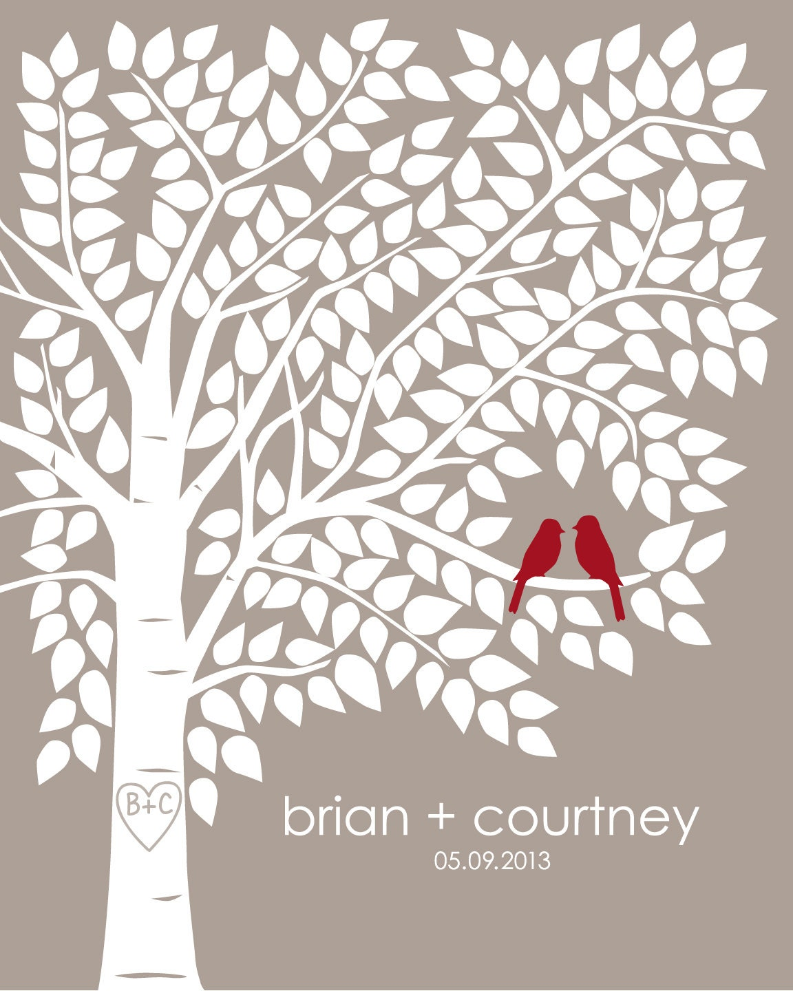 Wedding Guest Signing Tree: Guest Book Tree Guestbook Tree Personalized Signing Wedding