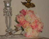Pretty Peachy/Pink and White Peony  Bouquet-Peonies-Shabby Chic Bouquet-Silk Peony Bouquet-Burlap-Lace-Rhinestones
