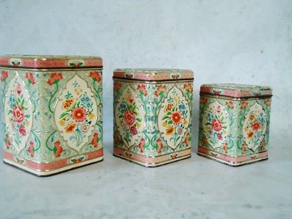 floral kitchen canister set vintage holland floral canisters