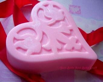 Floral Impression Heart Love Soap Glycerin Bar Handmade 4 oz U Pick Scent & Color
