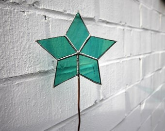 Teal Stained Glass Star Plant Stake