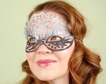 SHEER MASK- Graphite Trio- masquerade mask, Mardi Gras, ballroom, fairy, Venetian, Halloween,tattoo