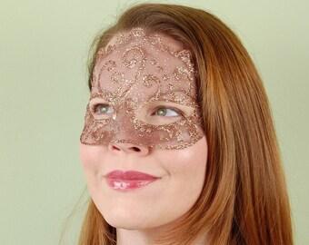 SHEER MASK- Copper Latte Organdy- masquerade mask, Mardi Gras, ballroom, fairy, Venetian, Halloween, tattoo