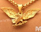 Yellow Gold Bald Eagle Pendant