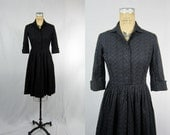 1950s Navy Blue Embroidered Cotton Day Dress . Small Medium