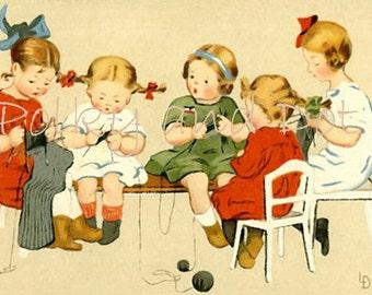 Digital  girls knitting sewing digital download of vintage illustration