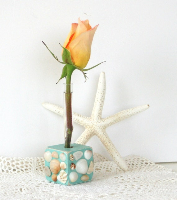BUD VASE covered in sea shells. Beach cottage decor, nautical, one of a kind