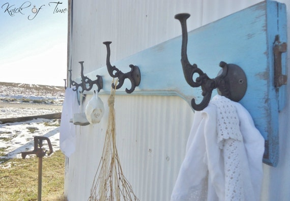 Cottage Coat Rack - Wall Hooks - Created from Antique Bed Salvage - Extra Large