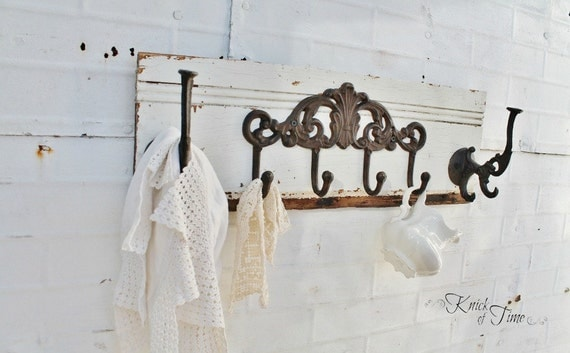 Antique Wooden Coat Rack - Created from Reclaimed Salvaged Wood - Towel Hook