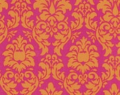 Michael Miller Fabrics-Dandy Damask-Sorbet-Orange Hot Pink-1 Yard-CX3095