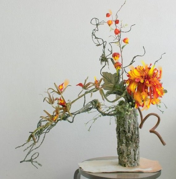 Items Similar To Floral Arrangement Orange Rustic Modern