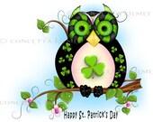 Owl Postcards - St. Patricks Day Postcards - Owl Stationary - Owl Art - St. Patricks Day Stationary - Owl Cards - St. Patricks Day Cards