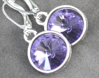 December Birthstone Earrings, Tanzanite Drop Earrings, December Birthstone Jewelry, Birthday Gift, Swarovski Crystal Tanzanite Earrings