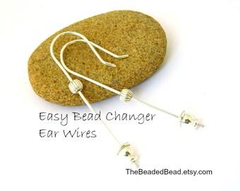 Easy Bead Changer Earrings - sterling silver changeable ear wires