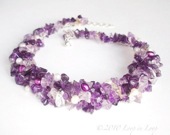 Purple Amethyst Necklace Crochet Knitted Lace, Silver, Freshwater Pearl, Natural fashion, birthstone wedding accessories