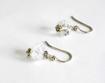 Clear Crystall Quartz Earrings, Sparkling Ice gemstone Sterling Silver April alternative diamond birthstone- Wedding Bride