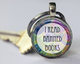 Book Keychain, I Read Banned Books, Key Chain, Key Fob, Librarians, Bibliophiles, Book Lovers