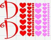Heart Decals, DIY Personalized Wine Glass, Valentine Decals, Vinyl Decals, Personalized Decals, Initial Decals, Valentine's Day, Wedding