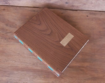 wood guest book -black walnut custom wedding or cabin guestbook personalized teal brown rustic anniversary journal - made to order