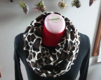 Giraffe Faux Fur Infinity Scarf, Super Soft & Warm- Velboa Plush fabric