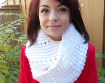 Hand Knitted Infinity Scarf - Eternity Scarf - Knitted Cowl - Knit Neckwarmer - White Scarf - Circle Scarf