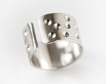 Silver Cuff Ring - Adjustable Wide Band Open Breathable Dotted Crater Design In Sterling Silver MADE TO ORDER In Your Size