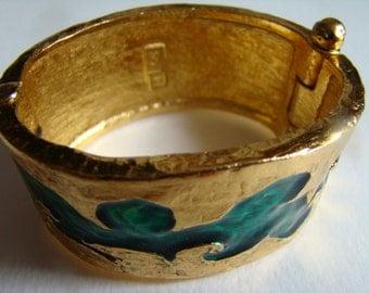 YSL Yves Saint Laurent green resin cuff bracelet