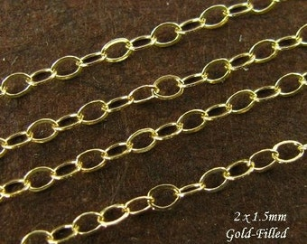 Gold Cable Chain - 6 Feet - 14kt Gold Filled Classic Flat Cable Chain  2mm x 1.5mm - CH14-6
