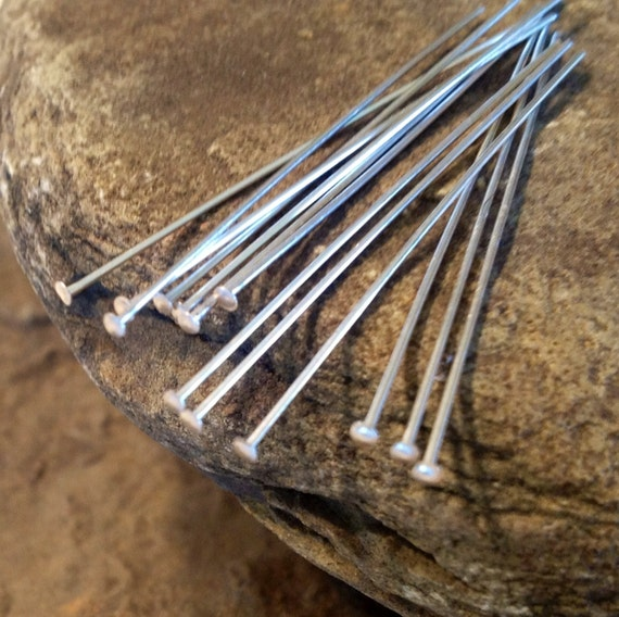 Sterling Silver Head Pins - 24 Gauge Flat  1.5 inch  or 37mm Long  50 Pieces   HP5a