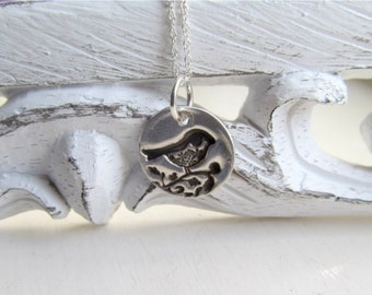 Dainty Bird Necklace, Little Bird Pendant, Silver Bird Necklace
