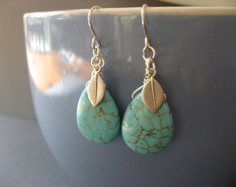 Turquoise Drop and Leaf Dangle Earrings, Everyday Casual