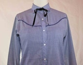 60s/70s Levis Blue Gingham Long Sleeved Cowboy Shirt  Size M