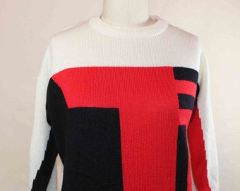1980s  does 60s Mod Graphic Mod Block Sweater Long Sleeve  Size Small