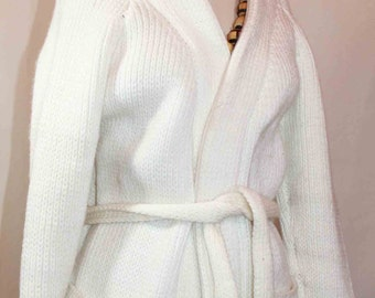 1970s Handmade Boho Tie Front White Sweater Size L