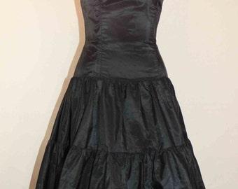 Jessica McClintock Black Taffeta Strapless 3 Tier Long Dress Size 6