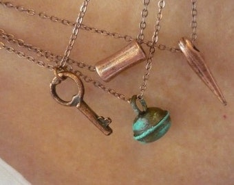 Four Stacking Necklaces, Dainty Stacking Copper Necklaces, Key Pendant, Bell Pendant, Spike Pendant, Tube Pendant, Fine Cable Copper Chains