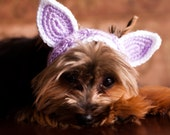 Knit Headband - Light Purple and white  Cat or Rabbit Ears for Dogs