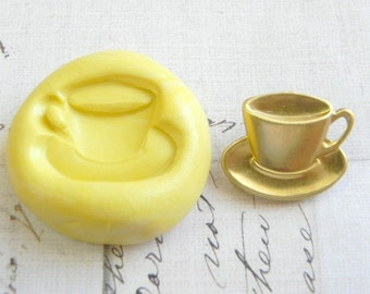TEACUP and SAUCER ( Small ) - Flexible Silicone Mold - Push Mold, Polymer Clay Mold, Resin Mold, Pmc Mold, Supplies