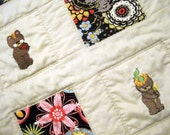 Baby Toddler or Child's Patchwork Quilt, Throw or Crib Quilt with Embroidered Teddy Bears