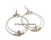Recycled Guitar String Double Hoop and Ball End Earrings - ORIGINAL DESIGN