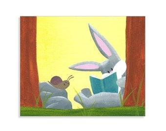 Rabbit Nursery Print - Bunny Wall Decor - Bunny Nursery Art - Woodland Nursery