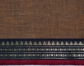 Handloom cotton fabric in Brown and Black- One yard Yard - VMC16