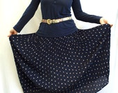 Vintage 1980s Maxi Skirt, Small floral print, Pleated vintage skirt, Long, Navy