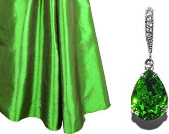 Fern Green Crystal Earrings Bridesmaid Green Rhinestone Earrings Swarovski Green Teardrop Earrings Silver CZ Fern Green Jewelry Wedding Gift